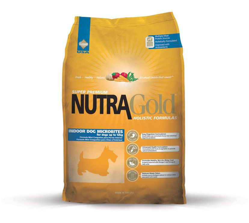Nutra Gold Holistic Indoor Dog Microbite Diamond Petfood USA