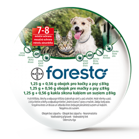 Foresto obojek | Foresto 38 - 1,25g + 0,56g obojek pro kočky a psy pod 8 kg, Foresto 70 - 4,50g + 2,03g obojek pro psy nad 8 kg